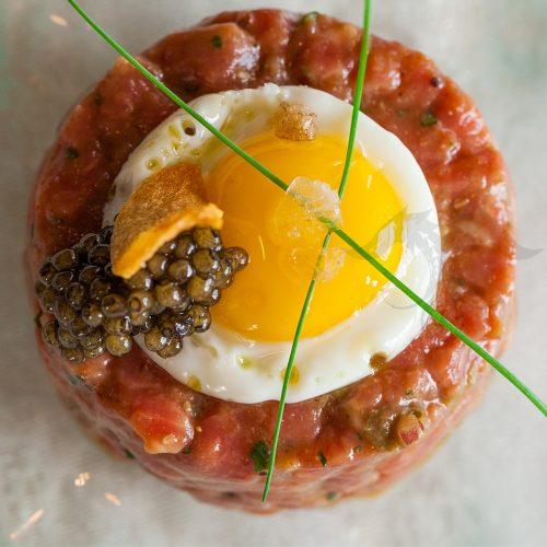 imperial osetra golden caviar steak tartar quaile egg