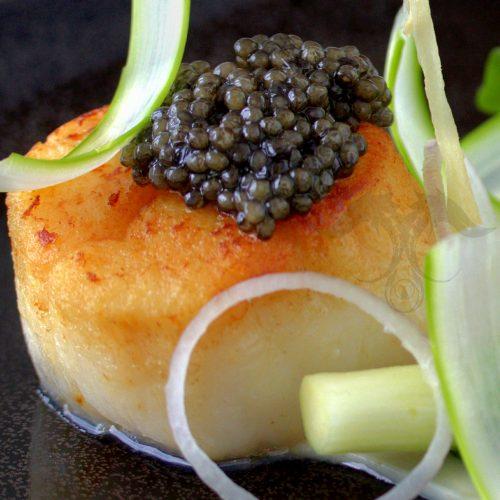siberian caviar on scallop