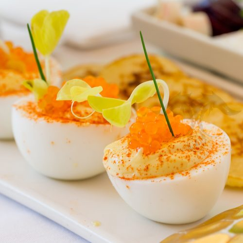 trout caviar devilled eggs recipe