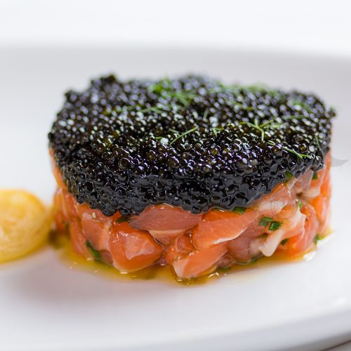wild american sturgeon caviar hackleback dish salmon tartar
