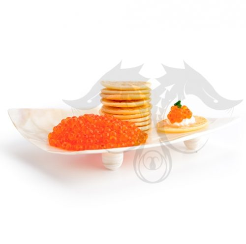 Square Mother of Pearl Caviar Dish Red Caviar